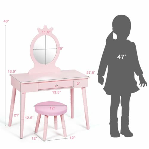 Gymax Kids Vanity Makeup Table & Chair Set Make Up Stool Play Set for Children Pink Perspective: top
