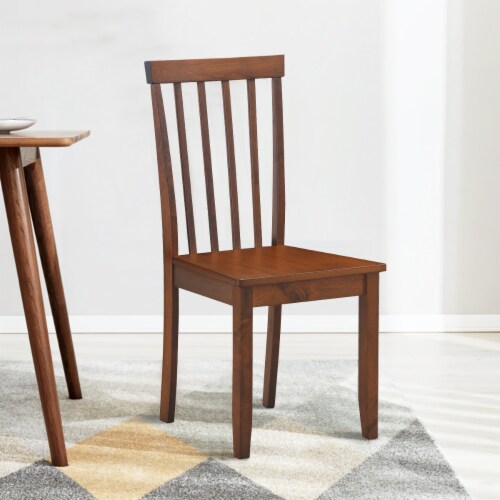 Costway 4 PCS Dining Chair Kitchen Spindle Back Side Chair with Solid Wooden Leg Perspective: top