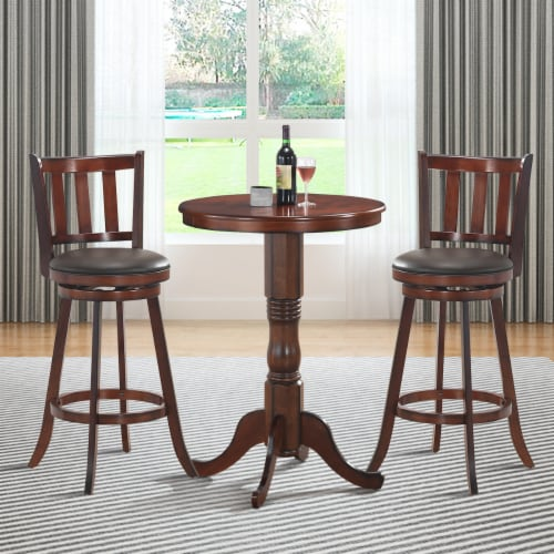 Costway Set of 2 29.5'' Swivel Bar stool Leather Padded Dining Kitchen Pub Bistro Chair High Perspective: top
