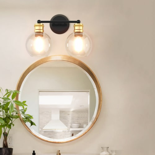 Costway 2 light Vanity Bathroom Light with 7 in Round Clear Glass Shade Vintage Wall Sconce Perspective: top