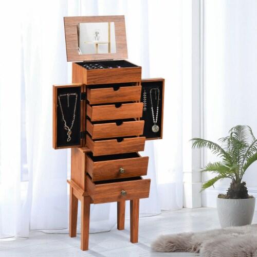 Costway Vintage Jewelry Cabinet Chest Storage Organizer Drawers&Mirror Perspective: top