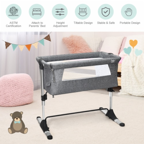 Baby joy Portable Baby Bed Side Sleeper Infant Travel Bassinet Crib W/Carrying Bag Grey Perspective: top