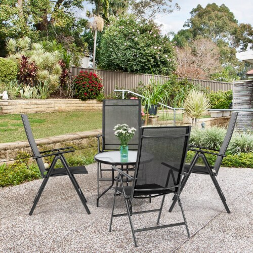 Costway 4PCS Patio Folding Dining Chair Recliner Adjustable Black Perspective: top
