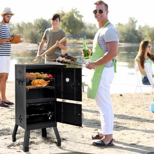 Costway Vertical Charcoal Smoker BBQ Barbecue Grill w/ Temperature Gauge Outdoor Black Perspective: top
