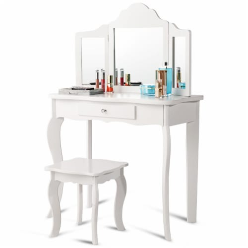 Costway Vanity Table Set Makeup Dressing Table Stool with mirror Perspective: top