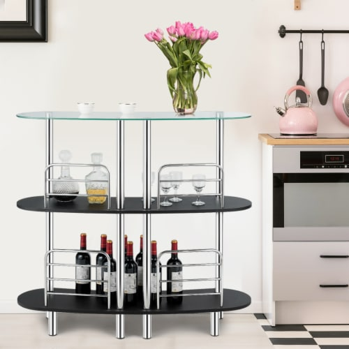 Costway Bar Table Wine Storage Home Liquor Pub Table w/Tempered Glass Top & 2 Shelves Perspective: top