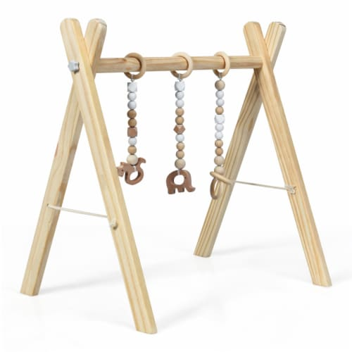 Foldable Wooden Baby Gym with 3 Wooden Baby Teething Toys Hanging Bar Natural Perspective: top