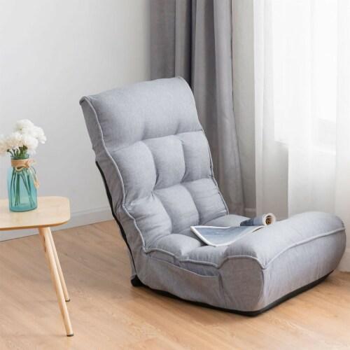Costway 4-Position Floor Chair Folding Lazy Sofa w/Adjustable Backrest& Headrest Gray Perspective: top