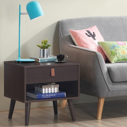 Costway Nightstand Sofa Side End Table Bedside Table Drawer Storage Perspective: top