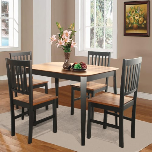 Set of 4 Dining Chair Kitchen Black Spindle Back Side Chair with Solid Wooden Legs Perspective: top