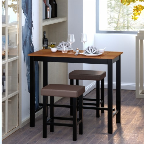 Costway 3 Piece Pub Table Set Counter Height Kitchen Breakfast Bar Dining Table W/Stools Perspective: top