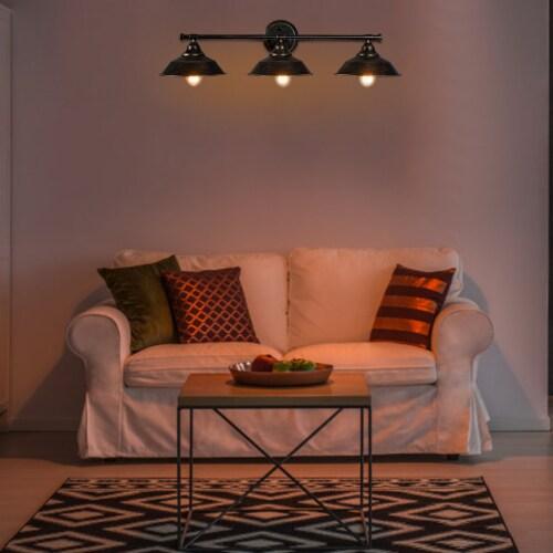 Costway Modern Industrial 3-Light Bathroom Wall Sconce Fixture Vanity/Bathroom Wall Lamp Perspective: top