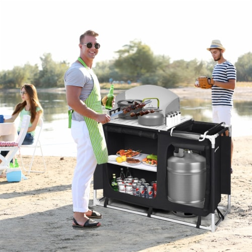 Goplus Portable BBQ Camping Grill Table Kitchen Sink Station w/ Storage Organizer Basin Perspective: top