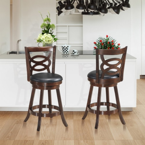 Costway Set of 2 Bar Stools 24'' Height Wooden Swivel Backed Dining Chair Home Kitchen Perspective: top