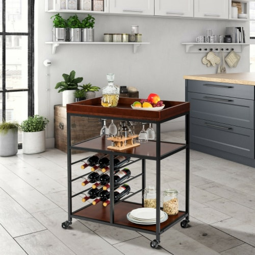 Gymax 3 Tier Storage Kitchen Trolley Utility Bar Serving Cart w/Wine Rack & Glass Holder Perspective: top