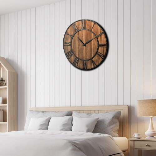 Costway 30'' Round Wall Clock Decorative Wooden Clock Come With Battery Perspective: top