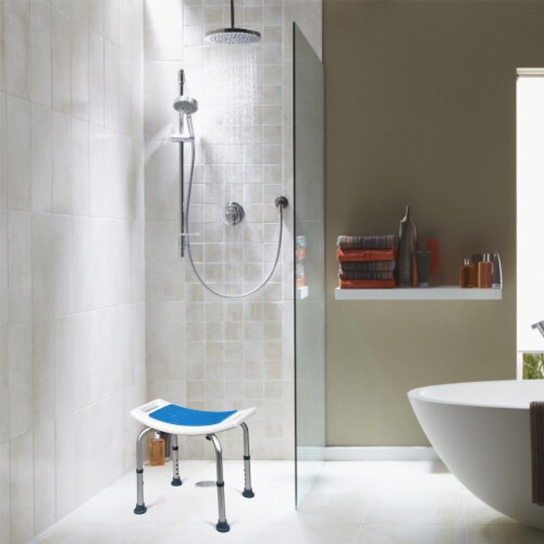 Costway Shower Bath Chair 6 Adjustable Height Bathtub Stool Bench Non-Slip Padded Seat Perspective: top