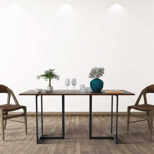 Costway 60'' Console Dining Table Rectangular Kitchen Table w/ Metal Frame and Wood Top Perspective: top
