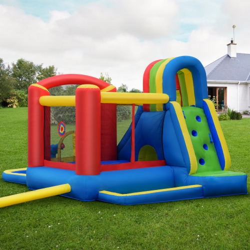Costway Inflatable Kid Bounce House Slide Climbing Splash Pool Jumping Castle Perspective: top