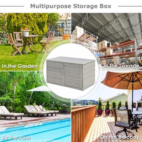 Costway 88 Gallon Garden Patio Rattan Storage Container Box Bin Shelf Perspective: top
