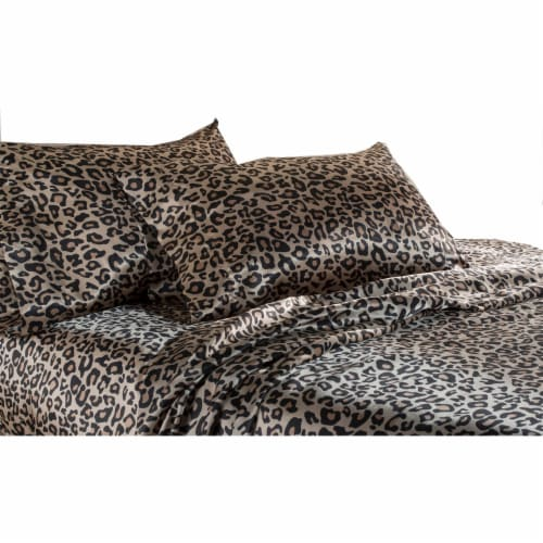 Elite Home Set of Soft Satin Weaved Polyester Bed Sheets, Queen, Leopard Print Perspective: top