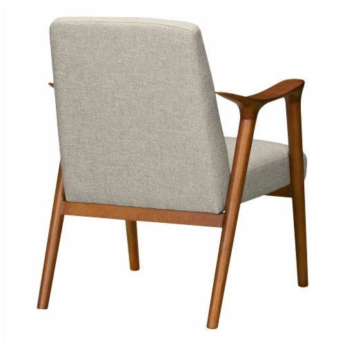 Nathan Mid-Century Accent Chair in Champagne Ash Wood Finish and Beige Fabric Perspective: top