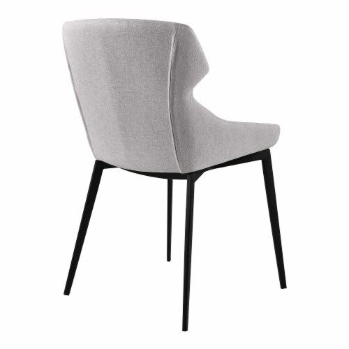 Kenna Dining Chair in Matte Black Finish and Gray Fabric - Set of 2 Perspective: top