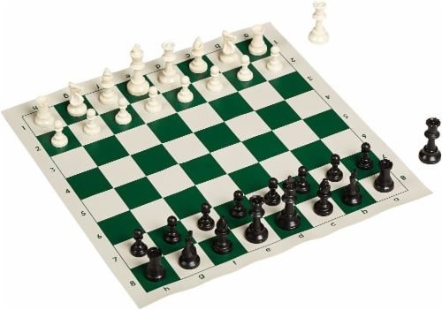 WE Games Complete Tournament Chess Set, Plastic Pieces, Green Board, Bag Perspective: top