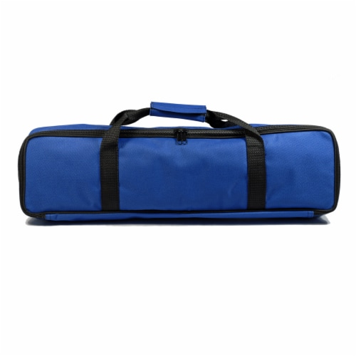 WE Games Complete Tournament Chess Set, Plastic Pieces, Blue Board, Travel Bag Perspective: top