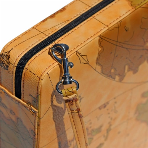 WE Games Tan Map Design Magnetic Backgammon Set, Leatherette, Travel Size Perspective: top