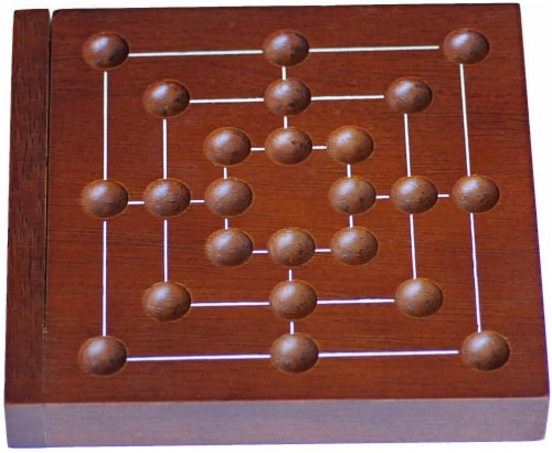 WE Games Nine Men's Morris Wooden Travel Game with Marbles - 5 inch Travel Size Perspective: top