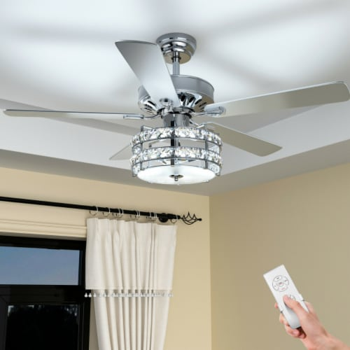 Gymax 52'' Classical Crystal Ceiling Fan Lamp w/ Reversible Blades Remote Control Home Perspective: top