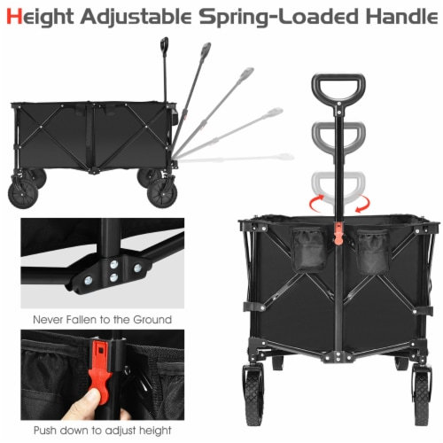 Costway Collapsible Folding Wagon Cart Outdoor Utility Garden Trolley Buggy Shopping Toy Perspective: top
