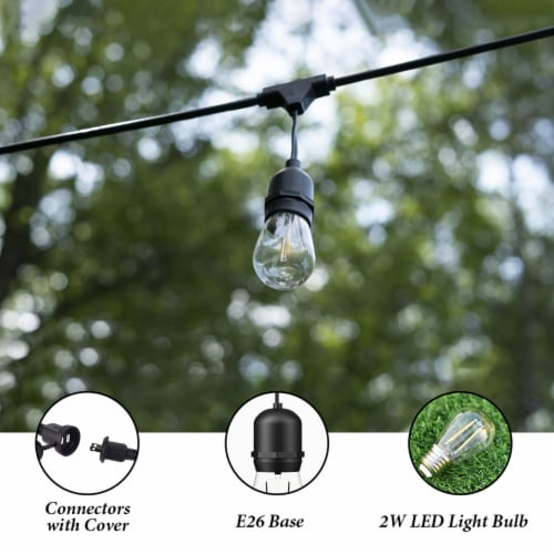 Costway 36FT LED Outdoor Waterproof Commercial Grade Patio Globe String Lights Bulbs Perspective: top