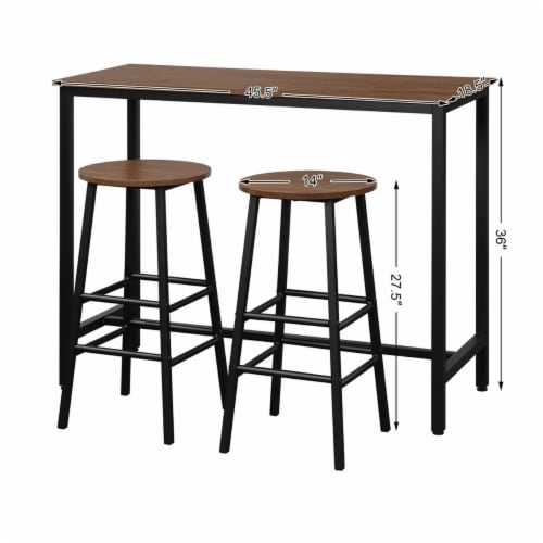 Costway 3 Piece Bar Table Set Pub Table and 2 Stools Counter Kitchen Dining Set Brown Perspective: top