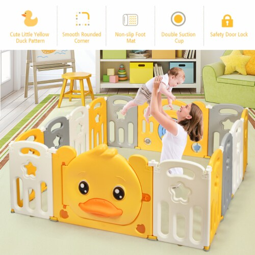 Costway 14-Panel Foldable Baby Playpen Kids Yellow Duck Yard Activity Center w/ Sound Perspective: top