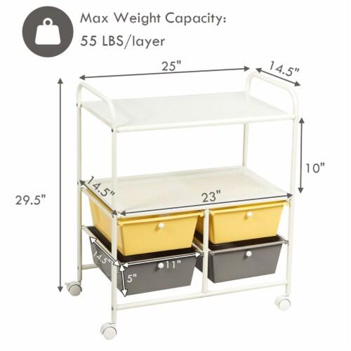 Costway Rolling Storage Cart w/4 Drawers 2 Shelves Metal Rack Shelf Utility Organizer Perspective: top