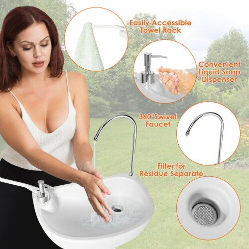 Costway 5 Gallon Portable Wash Sink  Hand Wash Basin Stand Perspective: top