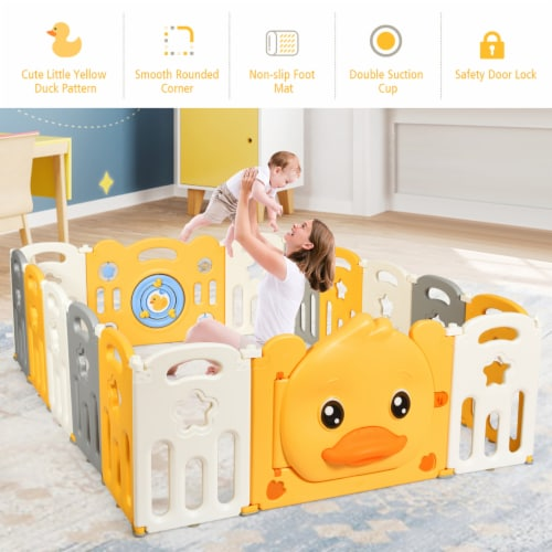 Costway 16-Panel Foldable Baby Playpen Kids Yellow Duck Yard Activity Center w/  Sound Perspective: top