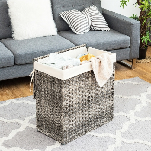 Gymax Hand-woven Laundry Basket Foldable Rattan Laundry Hamper W/Removable Bag Grey Perspective: top