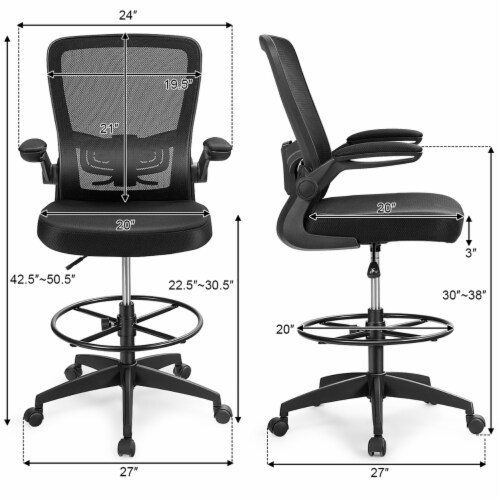 Costway Tall Office Chair Adjustable Height w/Lumbar Support Flip Up Arms Perspective: top
