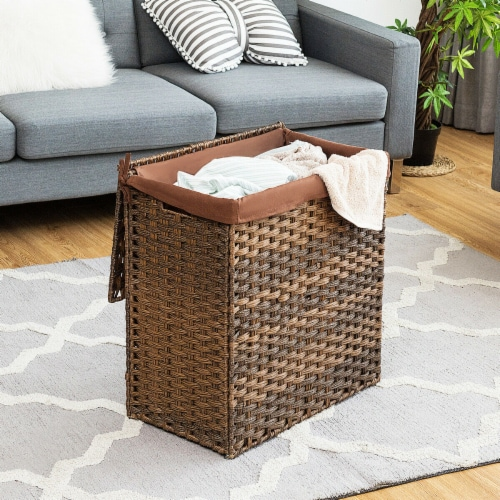 Gymax Hand-woven Laundry Basket Foldable Rattan Laundry Hamper W/Removable Bag Brown Perspective: top