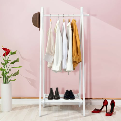 Gymax A-Frame Wood Garment Rack Clothing Hanging Rack w/Storage Shelf Entryway Bedroom Perspective: top