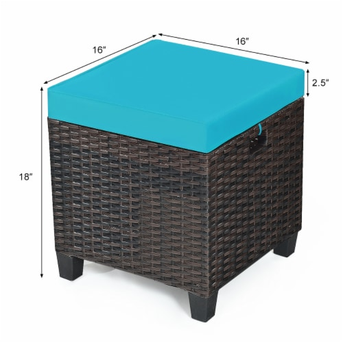 Costway 2PCS Patio Rattan Ottoman Cushioned Seat Foot Rest Coffee Table Turquoise Perspective: top