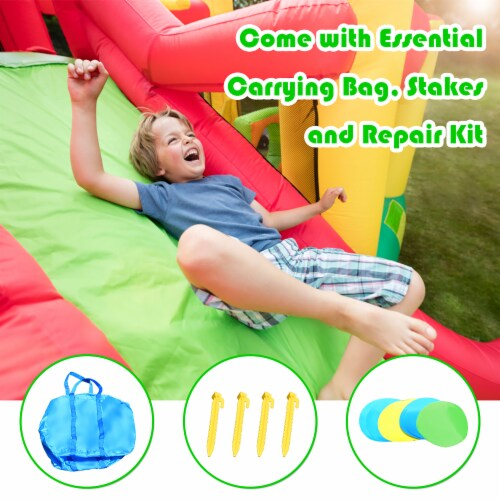 Costway Inflatable Bouncer Kids Bounce House Jump Climbing Slide BallPit Without Blower Perspective: top