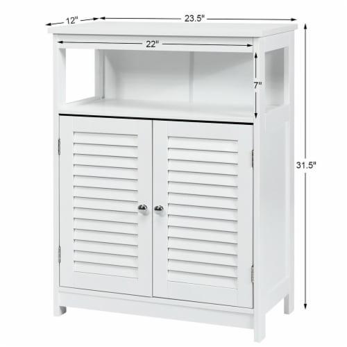 Costway Bathroom Wood Storage Cabinet w/ Double Shutter Door Perspective: top