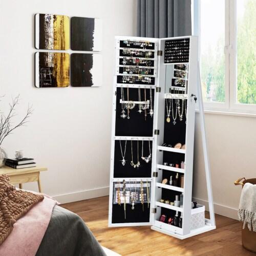 Costway Mirrored Jewelry Cabinet Lockable Standing Storage Organizer W/ Shelf Perspective: top
