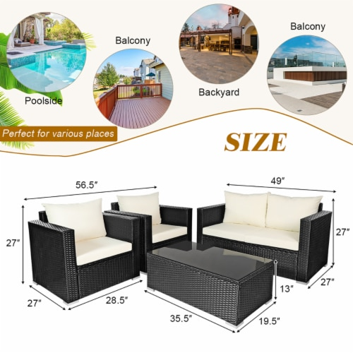 Costway 4PCS Patio Rattan Furniture Set Cushioned Sofa Chair Coffee Table Off White Perspective: top