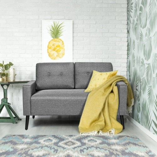 Costway Modern Loveseat Sofa 55'' Upholstered Chair Couch with Soft Cloth Cushion Grey Perspective: top