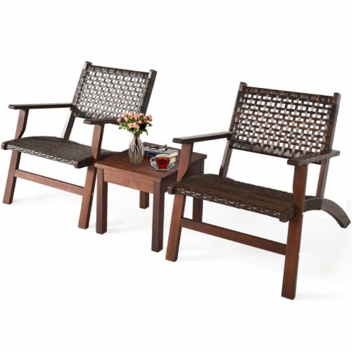 Gymax 3PCS Rattan Patio Chair & Table Set Outdoor Furniture Set w/ Wooden Frame Perspective: top
